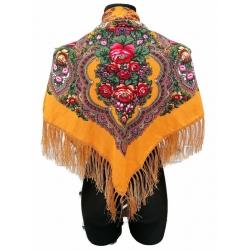 Chusta góralska ludowa apaszka damska folk żółta