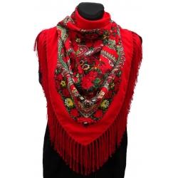 Chusta góralska ludowa apaszka damska folk czerwona