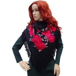 Chusta damska czerwone róże z frędzlami czarna 2