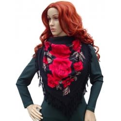 Chusta damska czerwone róże z frędzlami czarna DORC-6B