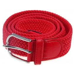 Pasek pleciony gumowy do spodni czerwony szeroki