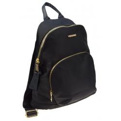 Plecak damski młodzieżowy czarny ze złotymi zamkami