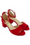 Sandały na słupku POLSKIE 62 czerwony zamsz