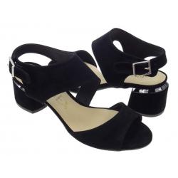 Sandały damskie na obcasie 60 czarny zamsz