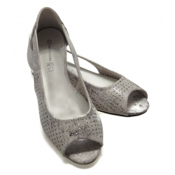 Baleriny damskie wycięte FL1301 srebrne