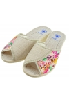 Pantofle damskie lniane 067 PAMI kwiaty