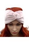 Opaska welurowa turban pleciona przeplatana wełna fuksja