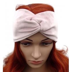 Opaska welurowa turban pleciona przeplatana wełna puder